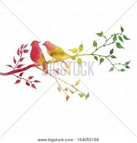 silhouettes of birds at tree, hand drawn songbirds at branch, Valentine symbol, a pair of lovers, color nature background