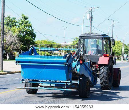 Varadero, Cuba - September 06, 2016:  Trucktor in Varadero Cuba