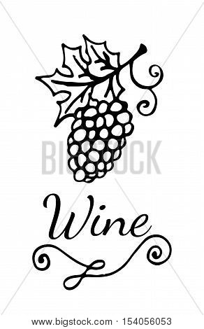 Template wine emblem with garden-stuffs and leaves of vine. For banners labels badges prints posters web.