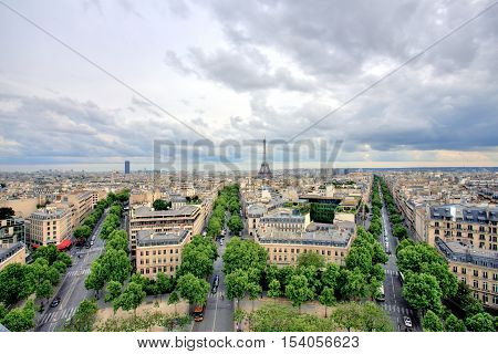 Eiffel Tower View from Arc de Triomphe, Paris