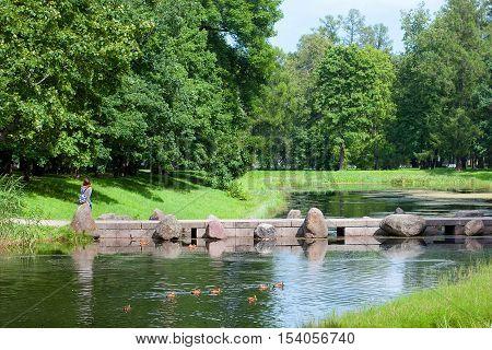 TSARSKOYE SELO, SAINT - PETERSBURG, RUSSIA - JULY 25, 2016: The Cascade Bridge across The Catherine Park Ponds. The Tsarskoye Selo is The State Museum Preserve. Located outside St Petersburg