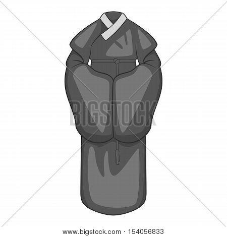 Korean traditional clothes icon. Gray monochrome illustration of korean clothes vector icon for web design