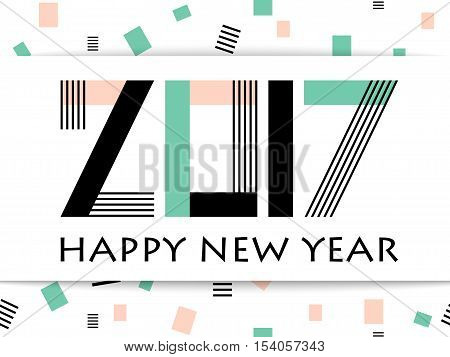 Geometric 2017 Happy New Year greeting vector card on white background with rectangle. Typography text sign Happy New Year and lettering 2017 number. Memphis hipster geometric design celebration card