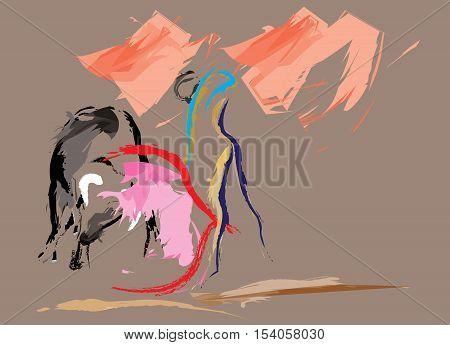 The Spanish bullfighter in the  bull ring