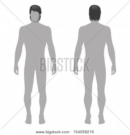 Fashion man full length template figure silhouette (front & back view) vector illustration isolated on white background