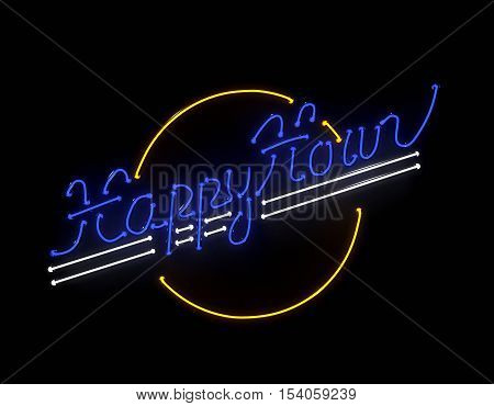 Happy hour neon 3d render sign on black background