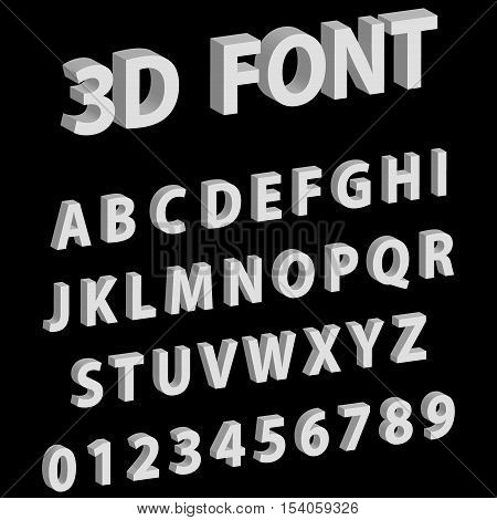 3D font letters and numbers of the English alphabet vector