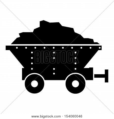 Small coal trolley icon. Simple illustration of small coal trolley vector icon for web