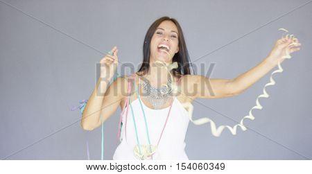Vivacious woman at a fun New Year party