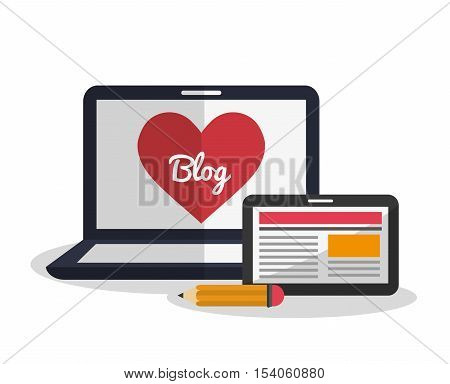 Laptop blog tablet and pencil icon. digital marketing media and ecommerce theme. Colorful design. Vector illustration
