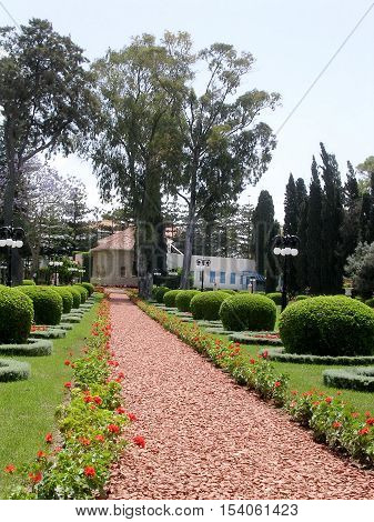 The red patch in Bahai garden near Akko Israel May 11 2004