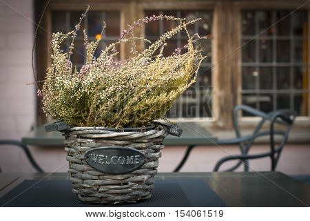 Beautiful autumn heather in a basket with the inscription Wellcome .