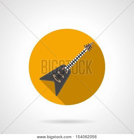 Retro style electric guitar with V-shaped hull. Original design musical instruments. Professional equipment in music shop. Round yellow flat vector icon.