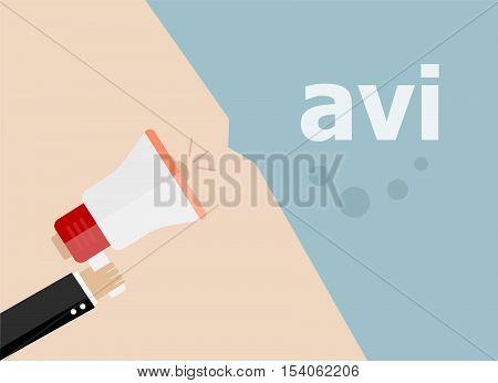 Avi. Hand Holding A Megaphone. Flat Style