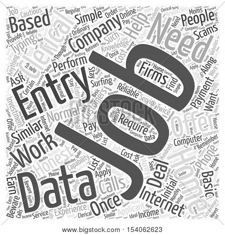 Clerical data entry from home work word cloud concept