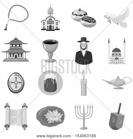 Judaism church traditional symbols icons set. Gray monochrome illustration of 16 judaism church traditional symbols vector icons for web