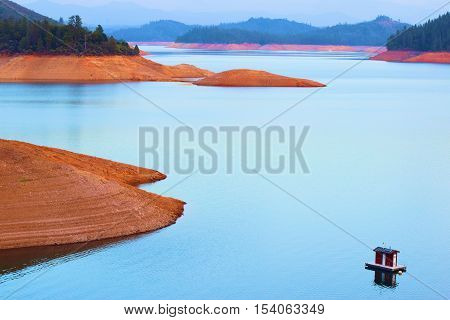 Low water levels caused from a prolonged drought taken at Shasta Lake in Northern California