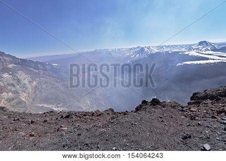 View of Lascar volcano crater with fumaroles.