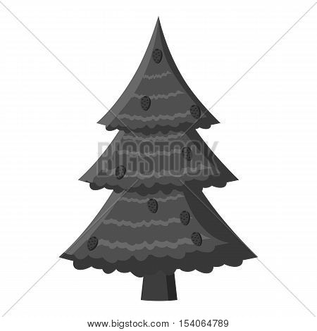Fir tree icon. Gray monochrome illustration of fir tree vector icon for web