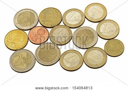 Euro coins and cents on a white background