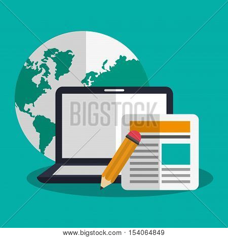 Laptop and pencil icon. digital marketing media and ecommerce theme. Colorful design. Vector illustration