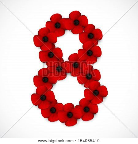 a red number eight in poppies background