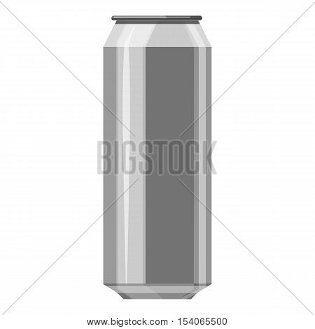 Aluminum beer can icon. Gray monochrome illustration of aluminum beer can vector icon for web