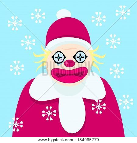 Disturbing clown with bloody fiber of the eye in the clothes of Santa Claus