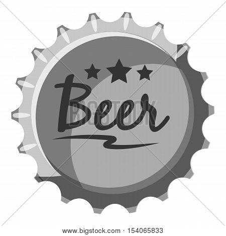 Beer bottle cap icon. Gray monochrome illustration of beer bottle cap vector icon for web