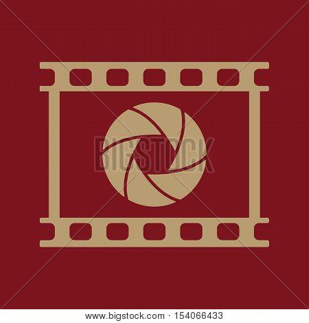 The camera icon. Photo and diaphragm, photographer, film symbol. Flat Vector illustration