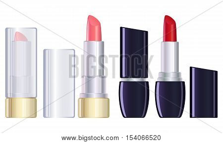 Red and pink lipstick closed and open. Vector stock illustration.