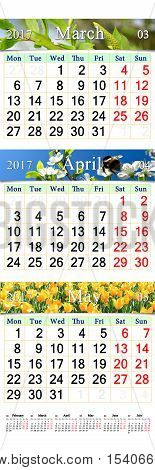 office calendar for March April and May 2017 with pictures of nature