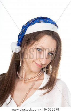 Smiling woman in santa helper hat. Picture of cheerful santa helper girl