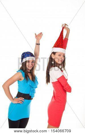 Smiling woman in santa helper hat. Picture of cheerful santa helper girls