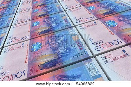 Cape Verdean escudos bills stacks background. 3D illustration.