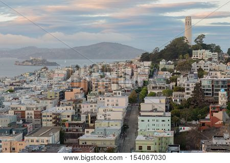 Telegraph Hill and North Beach Neighborhoods, Evening, San Francisco, California, USA