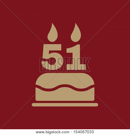 The birthday cake with candles in the form of number 51 icon. Birthday symbol. Flat Vector illustration