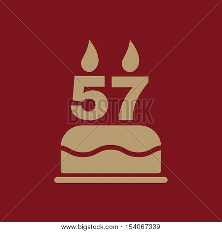 The birthday cake with candles in the form of number 57 icon. Birthday symbol. Flat Vector illustration