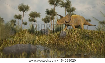 3d illustration of the triceratops in lepidodendron grove