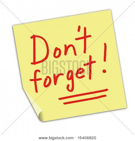 Don't Forget Post It Note