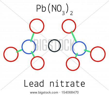 Lead nitrate PbN2O6 molecule isolated on white in vector