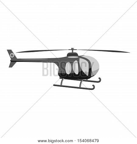 Helicopter icon. Gray monochrome illustration of helicopter vector icon for web