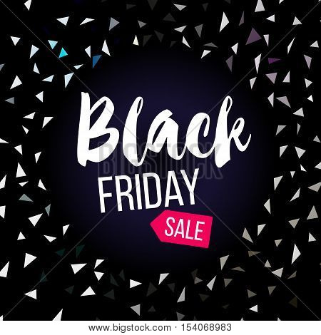 Black Friday sale banner with silver triangular confetti. Vector stock illustration.