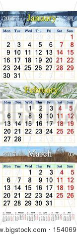 office calendar for January February and March 2017 with pictures of nature. Wall calendar for second quarter of 2017