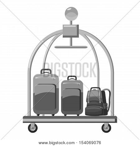 Hotel baggage cart icon. Gray monochrome illustration of hotel baggage cart vector icon for web