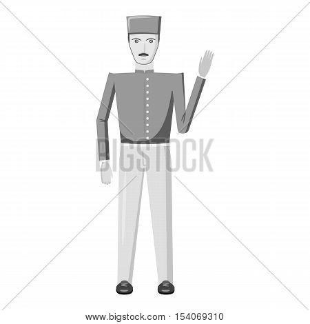 Doorman icon. Gray monochrome illustration of doorman vector icon for web
