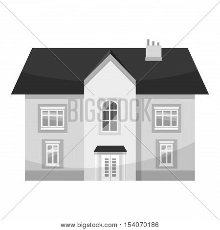 Two storey house icon. Gray monochrome illustration of two storey house vector icon for web