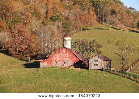 A rural dairy farm in Appalachian Mountains, West Virginia.