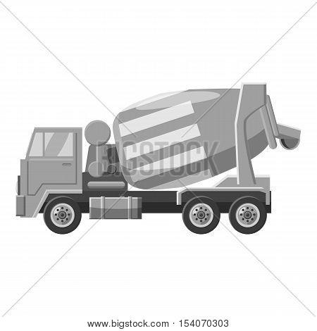 Concrete mixer truck icon. Gray monochrome illustration of concrete mixer truck vector icon for web