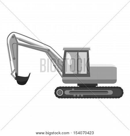 Excavator icon. Gray monochrome illustration of excavator vector icon for web
